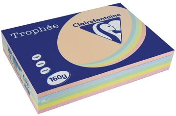Clairefontaine Trophée Pastel A4, 160 g, 5x50 vel, geassorteerde kleuren