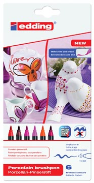 Edding porselein-penseelstift e-4200 warm set van 6