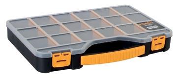 Perel gereedschapskoffer met 18 vakjes, zwart/geel